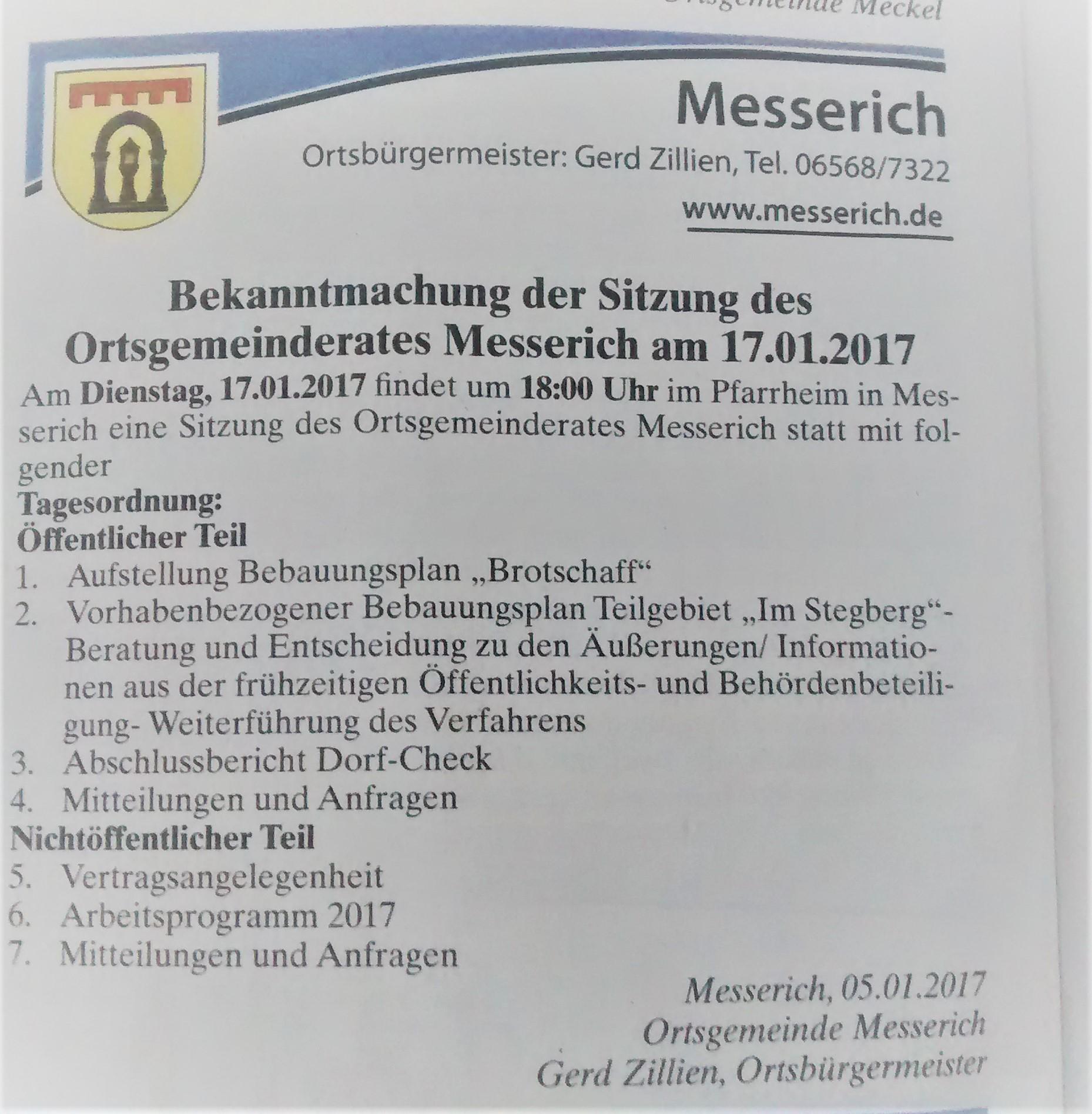 Gemeinderatssitzung am 17. Januar